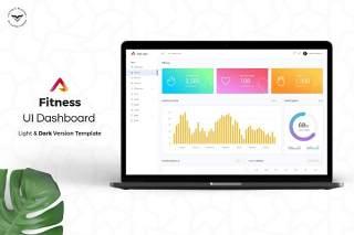 健身管理网站后台仪表板用户UI界面工具包PSD模板Fitness-Admin-Dashboard-UI-Kit