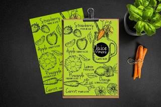 绿色果汁吧饮品店菜单模板PSD素材Juice Bar Menu Template