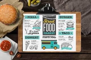 快餐餐车PSD菜单模板素材Food Truck Menu