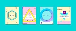 扁平化现代几何海报素材模板创意平面广告UI设计封面版式矢量27