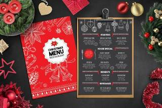 黑红双面餐厅圣诞菜单PSD模板Christmas Menu Restaurant Template