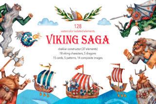 128款儿童舞台剧绘本插画维京海盗勇士龙木船手绘PNG免抠设计素材