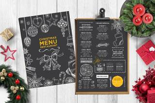 双面圣诞餐厅菜单PSD模板Christmas Menu Restaurant Template