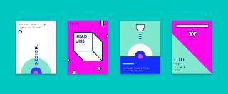 简洁现代几何扁平化海报创意平面广告UI设计封面版式矢量素材模板02