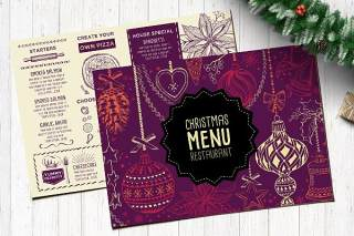 双面紫色圣诞餐厅菜单psd模板Christmas Menu Restaurant Template