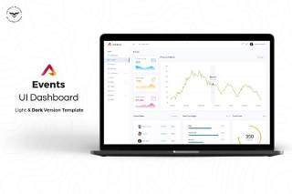 事件管理网站后台仪表板用户UI界面工具包PSD模板Events-Admin-Dashboard-UI-Kit