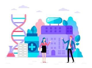商务医院医疗科研网络电商购物网页卡通人物插画矢量AI设计素材2
