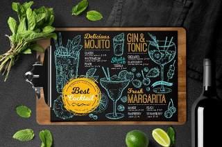黑色鸡尾酒酒吧菜单PSD素材模板Cocktail Bar Menu