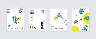 简洁现代几何扁平化海报创意平面广告UI设计封面版式矢量素材模板10