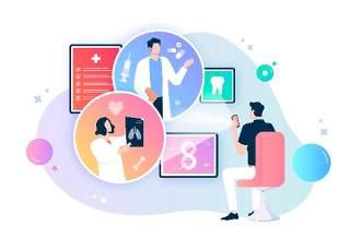 医生护士医疗健康卫生知识宣传卡通人物交流插画海报AI矢量素材模板