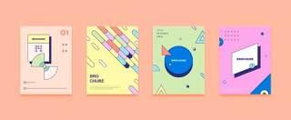 四款彩色平面设计几何线性封面布局矢量AI设计素材源文件02