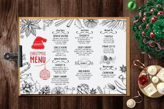 圣诞帽餐厅菜单模板PSD素材Christmas Menu Restaurant Template