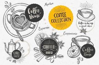 咖啡涂鸦元素矢量素材Coffee Doodle Elements