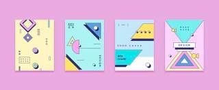 四款彩色平面设计几何线性封面布局矢量AI设计素材源文件03