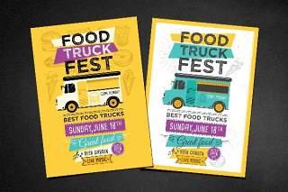 食品卡车传单宣传页PSD模板素材Food Truck Flyer