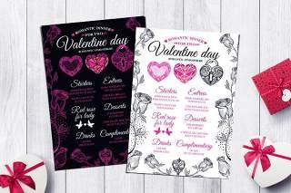情人节菜单PSD双面模板餐厅素材Valentine's Day Menu Template