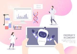2.5d医生护士护理医疗机器人宣传卡通人物插画海报AI矢量素材模板