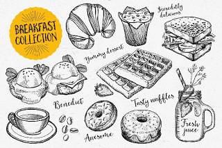 早餐食品元素涂鸦矢量素材Breakfast Food Elements
