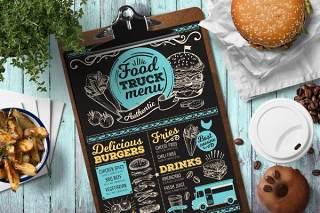 餐车菜单模板PSD单页素材Food Truck Menu Template