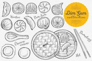 亚洲美食点心插图手绘线描矢量素材Asian Food Dim Sum Illustrations