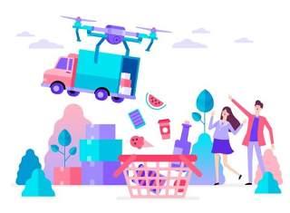 商务医院医疗科研网络电商购物网页卡通人物插画矢量AI设计素材15