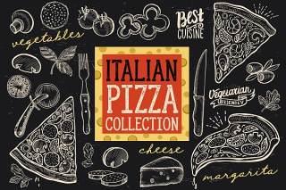 意大利披萨涂鸦元素矢量素材Italian Pizza Doodle Elements