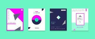 现代几何孟菲斯扁平化海报创意平面广告UI设计封面版式矢量素材模板13