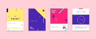 扁平化现代几何海报素材模板创意平面广告UI设计封面版式矢量28