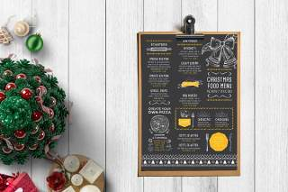 黑色圣诞节菜单PSD餐厅模板Christmas Menu Restaurant Template
