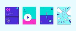 简洁现代几何扁平化海报创意平面广告UI设计封面版式矢量素材模板01
