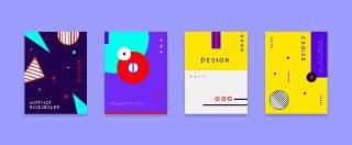 扁平化现代几何海报素材模板创意平面广告UI设计封面版式矢量25