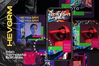 社交媒体PSD移动界面设计素材模板HEVGRAM - Social Media Instagram Pack
