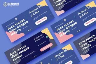 莫兰迪色系网页banner模板平面广告AI矢量抽象背景素材ADL Banner Templates.24