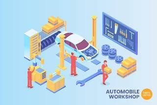2.5D等距汽车车间插画矢量AI素材场景概念创意Isometric Automobile Workshop Vector Concept