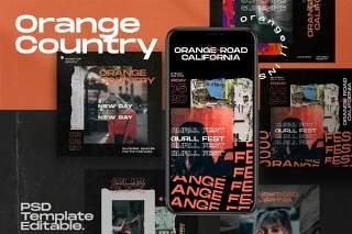 移动端图片分享应用界面PSD设计素材Country Orange - Instagram Template + Stories