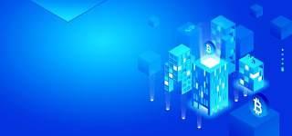 3D蓝色科技企业舞台会议互联网高端论坛背景PSD展板素材横版
