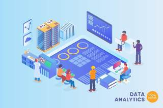 2.5D等距数据分析矢量插画AI素材场景概念Isometric Data Analytics Vector Concept