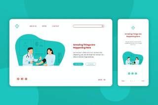 医院医生专家就诊登录页网页UI界面手机移动端人物插画APP设计矢量素材Illustration Landing Page & Onboarding Mobile App