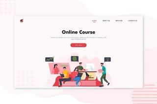 在线教育课程网课人物插画登录页AI矢量网页界面素材Hero Header Illustration Landing Pages