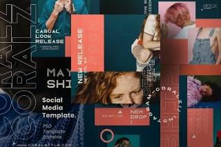 社交媒体模板PSD设计素材CORALZ - Social Media Template + Stories