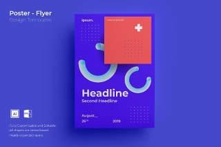 紫色创意图形抽象海报模板封面设计AI矢量背景素材ADL-Poster Design.01