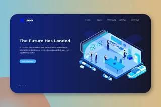 深蓝色2.5D插画等距登录页创意未来已来数字概念WEB网页界面模板设计AI矢量素材Isometric Landing Page