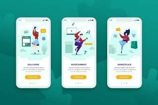 登陆屏幕移动应用程序手机APP界面人物概念插画Onboarding Screens Mobile App