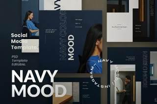 黑色社交媒体工具包PSD界面设计素材Navy Mood - Instagram Social Media + Stories