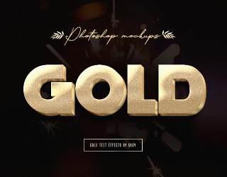 3d金色文字效果10个艺术字体样式效果PSD素材