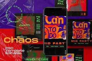 移动端社交媒体工具包模板PSD设计素材CHAOS - Instagram Social Media Kit