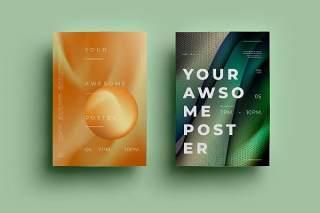 渐变绿色创意图形抽象海报模板封面设计AI矢量背景素材ADL-Poster Design.10