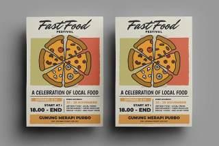 快餐披萨传单宣传页设计促销折扣单页AI矢量素材Fast Food Flyer Design.16