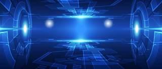 蓝色科技企业舞台会议互联网高端论坛背景PSD展板素材横版17