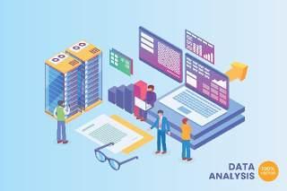 2.5D等距数据分析技术矢量插画AI素材场景概念Isometric Data Analysis Technology Vector Concept